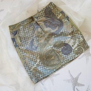 Ann Taylor denim skirt size 10 paisley  design